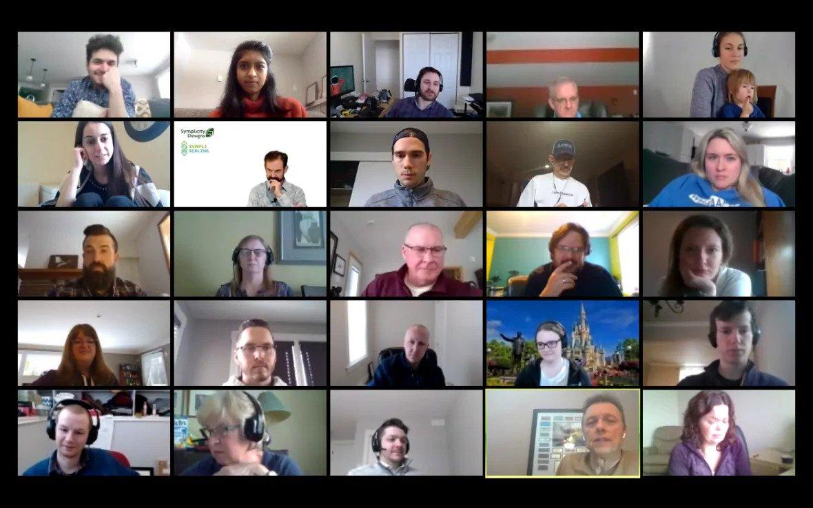 Symplicity Designs daily team Zoom call