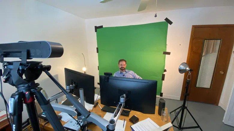 Matt Symes in his Converted Webinar Bedroom